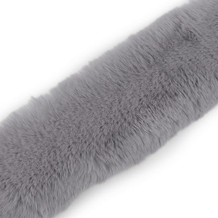 Metráž: Oděvní kožešina šíře 5 cm - šedá