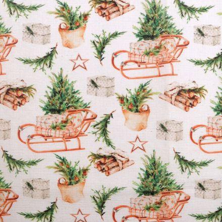 Metráž: Dekorační vánoční látka Loneta - saně