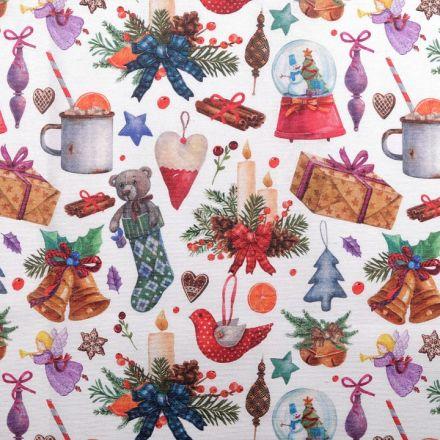 Metráž: Dekorační vánoční látka Loneta