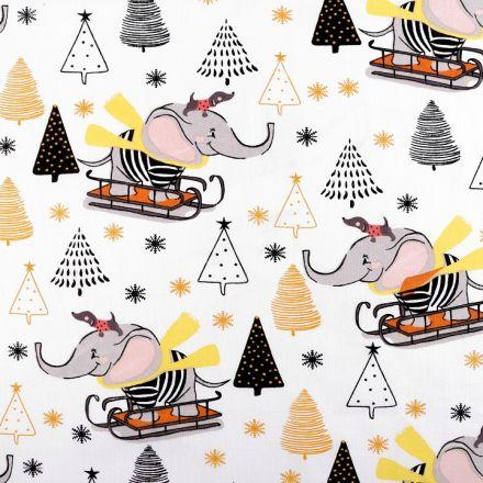 Metráž: Vánoční bavlněná látka - slon