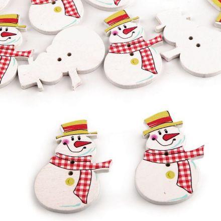 Galanterie: Dřevěný dekorační knoflík - sněhulák